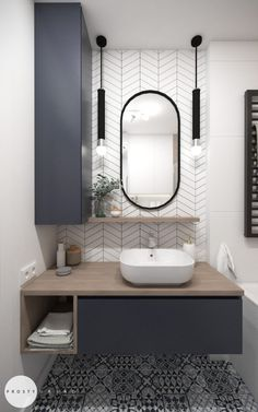 Single Bathroom Vanity, Bathroom Interior Design, Bathroom Layout, Chic Bathrooms, Round Mirror Bathroom, Home Design Decor, Home Interior Design, Bathroom Decor, Bathroom Renovation