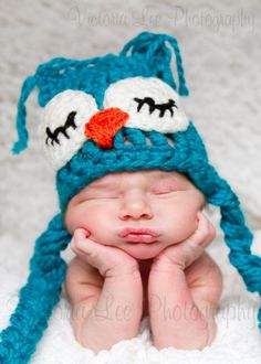 Baby blue sleepy Owl crochet Photography prop hat by adouce1, $26.00