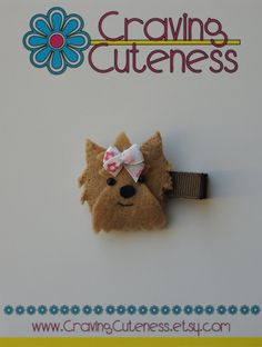 Adorable Yorkie Hair Clippie  Meet Miss Yara by CravingCuteness, $3.50