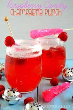 Fizzy, fruity and fabulous, this Raspberry Candy Champagne Punch is phenomenal and perfect for brunch or dinner! - The Domestic Rebel Brunch Drinks, Fun Drinks, Yummy Drinks, Healthy Drinks, Beverages, Refreshing Cocktails, Cocktail Drinks, Champagne Drinks, Smoothie Drinks