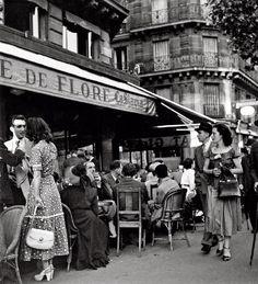 Paris St Germain des Prés - Café de Flore 1949 Robert Doisneau.Featured by A Hedgehog in the Kitchen : a Parisian lifestyle blog for the epicurious. www.ahedgehoginthekitchen.com.