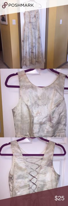 """All That Jazz Floral Maxi Dress All That Jazz Beige Plum Floral Lace up Back Formal Dress. Zip up side. Excellent Condition. Wore once to wedding   So may compliments. Tag said washable!!  I had it Dry Cleaned. Size 9-10. Fits more like 4-6. I wear 4 and it fit because u can tighten r loosen lace up back.  Bust 35"""" adjustable. Waist 28"""". Hips 37"""" Length from shoulder to hem 55"""". Thank You 😊 All That Jazz  Dresses Maxi"""