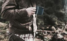 Isaac likes his coffee in the woods