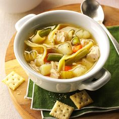 Mom's Chicken Noodle Soup Recipe -My mother was a pastor's wife, and she did a lot of cooking for potlucks. This recipe's one she created herself. I serve it frequently to my husband and to our four children. Every one of them is a hearty eater! —Marlene Doolittle, Story City, Iowa