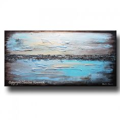 "GICLEE PRINT Art Blue Abstract Painting Modern Coastal Canvas Prints Urban Aqua Brown White City Home Wall Decor xl LARGE sizes up to 60"" -Christine"
