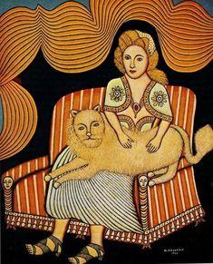 Девушка с ангорским котом. 1944. Частная коллекция
