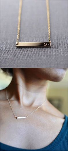 This necklaces features a 14K gold bar personalized with any name up to nine characters long and optional date engraving on the back of the pendant. | Made on Hatch.co by makers who care.