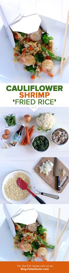 Love Chinese take-away? This Paleo-friendly cauliflower shrimp 'fried rice' will satisfy your cravings while still keeping it healthy and deliciously quick. Shrimp Fried Rice, Cauliflower Fried Rice, Cauliflower Recipes, Rice Recipes, Seafood Recipes, Paleo Recipes, Cooking Recipes, Delicious Recipes, Cauliflowers