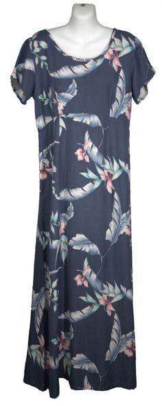NEW Tommy Bahama Silk Dress 10 Tropical Floral Print Slate Blue Cruise Washable
