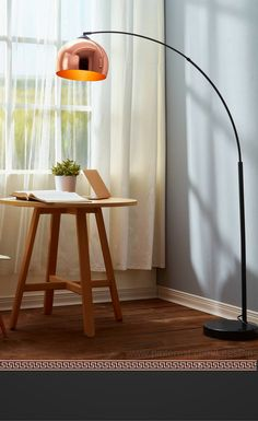 Teamson Versanora - Arquer Arc Floor Lamp with Rose Gold Finished Shade and Black Marble Base from Target- affiliate. The Versanora Floor Lamp is bendable perfection and makes directing light easy as well as lights up rooms beautifully