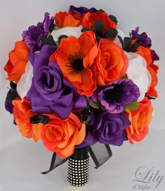 "Wedding Bridal Bouquet Silk Flowers bouquets Decoration 17 pieces Package BLACK PURPLE ORANGE ""Lily Of Angeles"" on Etsy, $219.99"