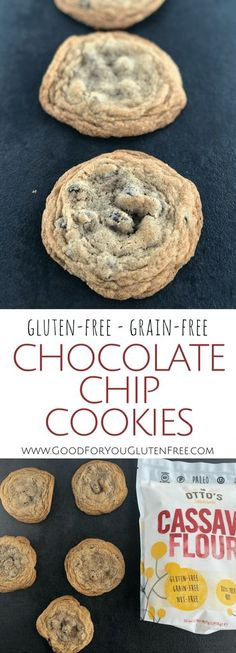 Cassava Flour Chocolate Chip Cookies - Grain-Free, Gluten-Free - Good For You Gluten Free. Healthy but also delicious! Gluten Free Chocolate Chip Cookies, Gluten Free Cookies, Gluten Free Desserts, Gluten Free Recipes, Healthy Desserts, Paleo Cookies, Molasses Cookies, Gf Recipes, Soup Recipes