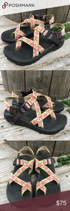 ebe62541caecd Shop Women s Chaco Green Pink size 7 Sandals at a discounted price at  Poshmark. Description  Super cute lime green and pink floral Chaco sandals  sz Sold by ...