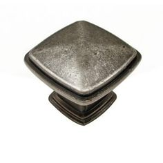 """Classic Expression I - 1 7/32"""" Square Knob with Beveled Accent in Pewter - Richelieu Hardware"""