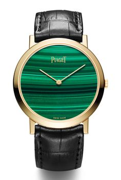 @Piaget Altiplano 38mm Stone Dial with yellow gold case, malachite dial, manufacture Piaget 430P ultra-thin mechanical hand wound movement, and black alligator strap.  | The Jewellery Editor