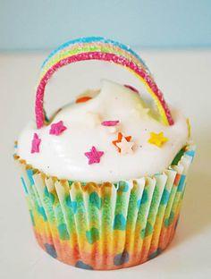 Rainbow Marshmallow Cupcakes