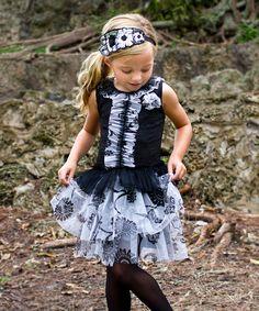 Mia Belle Baby Black & Ivory Ruffle Drop-Waist Dress - Toddler & Girls by Mia Belle Baby #zulily #zulilyfinds