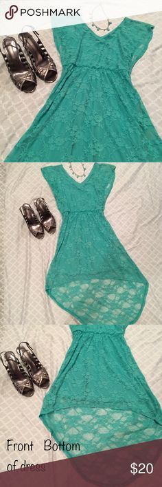 Beautiful teal summer dress Beautiful teal dress in excellent condition. Size small. Great for the summer, you can dress it up or down. Outside of the dress is a lace material with a silk slip inside. Front is short and the back is long(see detailed photos). This dress is absolutely beautiful! Heels are not included, but if you're interested in them too then you can find them on a separate post and bundle with dress to save on shipping and get discounted price! Open to all offers Bailey Girl…
