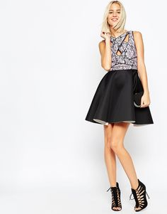 Image 4 of ASOS Cross Strap Lace Bodice Mini Skater Dress