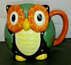 3D Ceramic Owl Mug Coffee Cup FALL INTO AUTUMN THEME Multicolor New in Box #Unbranded Owl Coffee, White Coffee Mugs, Coffee Cups, Ceramic Owl, Ceramic Cups, Autumn Theme, Winter Theme, Soap Box Derby Cars, Owl Mug