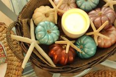 COASTAL SHORE CREATIONS Coastal autumn tablescape DIY Painted mini pumpkins and starfish for fall