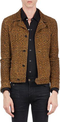 Saint Laurent Leopard Suede Jeans-Style Jacket - Bombers - Barneys.com