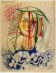 Pablo Picasso - Portrait of Francoise Gilot, 1946 Pablo Picasso, Kunst Picasso, Art Picasso, Picasso Drawing, Picasso Paintings, Painting & Drawing, Francoise Gilot, Georges Braque, Inspiration Art