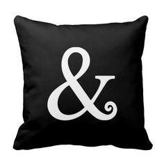 Ampersand Symbol White Throw Pillows