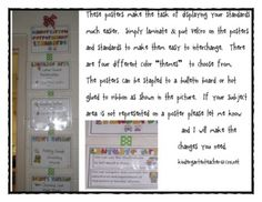 Common Core Standards Posters for Kindergarten~This packet includes everything you need to post the standards you are working on in your classroom.  The packet includes 5 different color schemes...