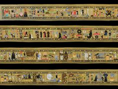 Yes, those are lightsabers, and stormtroopers and the Death Star. No, this isn't a historical tapestry. The 10-metre hand-stitched Coruscant Tapestry tells the entire story of the first six episodes of the Star Wars saga. The black borders contain quotes from the film written in Aurebesh, the basic language of the Star Wars universe