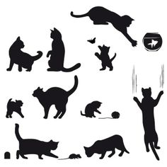 Animal Silhouette, Silhouette Design, Art And Craft Images, Wall Stencil Patterns, Cat Applique, Wood Animal, Cat Quilt, Cat Crafts, Animal Logo