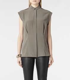ALLSAINTS Webster Shirt  This in black, tucked in with a pencil skirt....