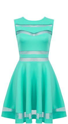 4a5585d668 Elegancka miętowa rozkloszowana sukienka z siateczką -  http   shushu.pl odziez elegancka-mietowa-rozkloszowana-sukienka -z-siateczka----lovetrendy