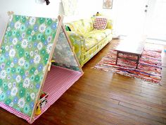 Using dowels make this play tent  A very nice drawing explains how to make this tent