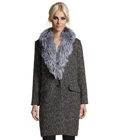 Theory Black And Grey Wool Blend 'sekary' Fox Fur Collar Button Front Coat