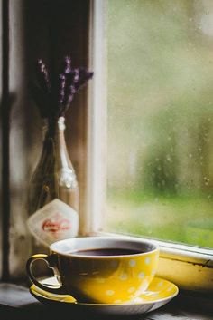 Yellow coffee cup with flowers in front of rainy window