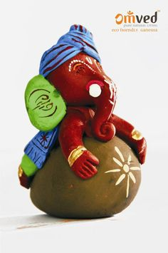 Baal Ganpati eco-friendly Ganesha idol - handcrafted using pure (lead-free) earthen or natural terracotta. Happy Ganesh Chaturthi. Go Green. Celebrate consciously.