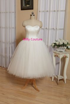 Tutu wedding dress tulle wedding dress short 1950 by MillyCouture