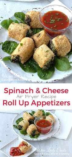 Air fryer spinach and cheese roll up appetizer recipe for any gathering. Also an easy side dish for any weeknight meal. Click thru for easy recipe. Bbq Appetizers, Best Appetizer Recipes, Recipes Appetizers And Snacks, Healthy Snacks, Snack Recipes, Vegetarian Appetizers, Tailgating Recipes, Appetizer Ideas, Party Recipes