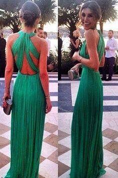 Vestido verde largo para día o noche