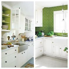 Green and white kitchen. Farmhouse sink, green subway tile backsplash. Painted inside of cabinets.