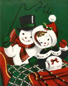 Vintage Christmas card cute snowman couple digital by BigGDesigns