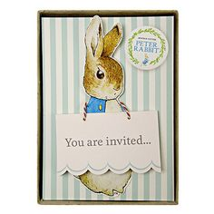 Peter Rabbit would like to invite you to a party, where all kinds of mischievousness will occur. These delightful cut-out party invites use Beatrix Potter's classic illustrations. They come embellishe