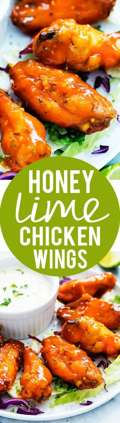 Spicy, sticky Baked Honey Lime Chicken Wings | Creme de la Crumb