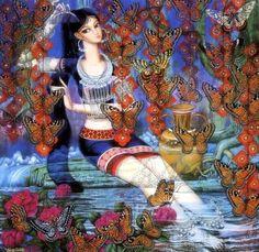 Фото Девушка в восточном наряде опустила в воду свои ноги и расчесывает гребнем свои волосы на голове, рядом стоит кувшин для воды, вокруг летают разноцветные бабочки, работа Adrian Markis