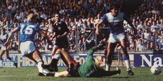 10 August 1985 Adrian Heath scores the Blues second  v Man Utd in the Charity Shield at Wembley