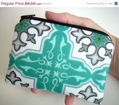 MOVING SALE Aqua Zipper pouch coin purse Gadget  by JPATPURSES, $6.00