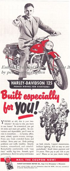 1950 Harley Davidson Advertisement Clipped by NorthCountryVintage, $7.50