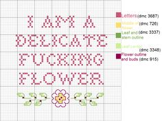 I am a delicate fucking flower pattern