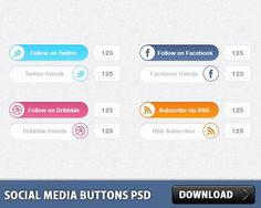 Awesome Social Media Buttons PSD. Download Free Social Media Buttons PSD. Social Media Switches is a set of 6 social media subscription switches. Each Switch is in 2 states. Enjoy!  #buttons #downloadpsd #facebook #File #free #freepsd #icon #icons #images #media #network #psd #resources #rss #social #Sources #templates #twitter #web Check more at http://psdfinder.com/free-psd/social-media-buttons-psd